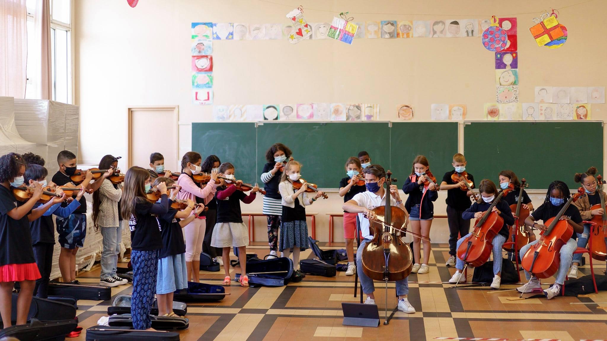 enfants, école, musique, instruments